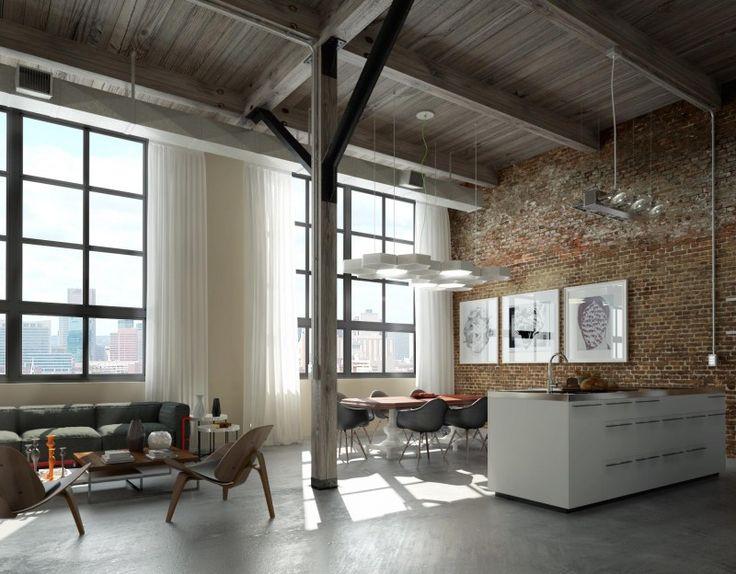 projet loft K par Héctor Martínez García, mur en briques, grand espace