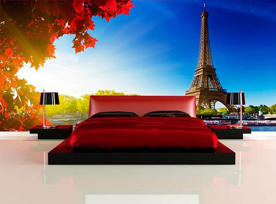 Large wall mural. Poster panorana of Paris. Colorful photo of