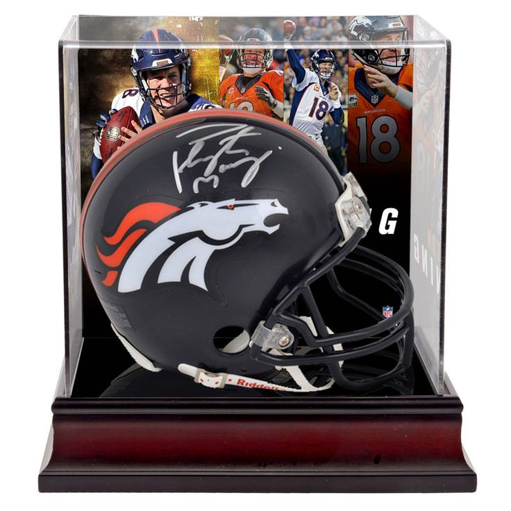Peyton Manning Denver Broncos Fanatics Authentic Autographed Riddell Mini Helmet with Deluxe Mini Helmet Case