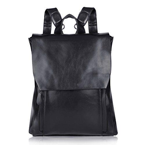 Vbiger Womens Vintage Cowhide Leather Backpack School Bag (Black) Soft