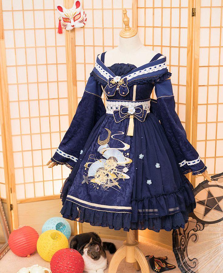 Fantastic Wind -Moonlight Dream- Embroidery Wa Lolita OP Dress