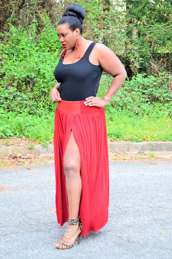 c28efb37930 Plus Size Leather Maxi Skirt Red   Red Leather by SpoiledDiva ...