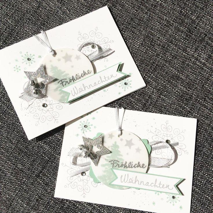 Kartentauschaktion für Weihnachten #cardmaking #crafting #christmas #christmascard #weihnachten #weihnachtskarte #stamping #stampinup #swap #loveit #minzmakrone #schiefergrau #mintmacaron #smokyslate #chaosmanagerin #embossing #heatembossing