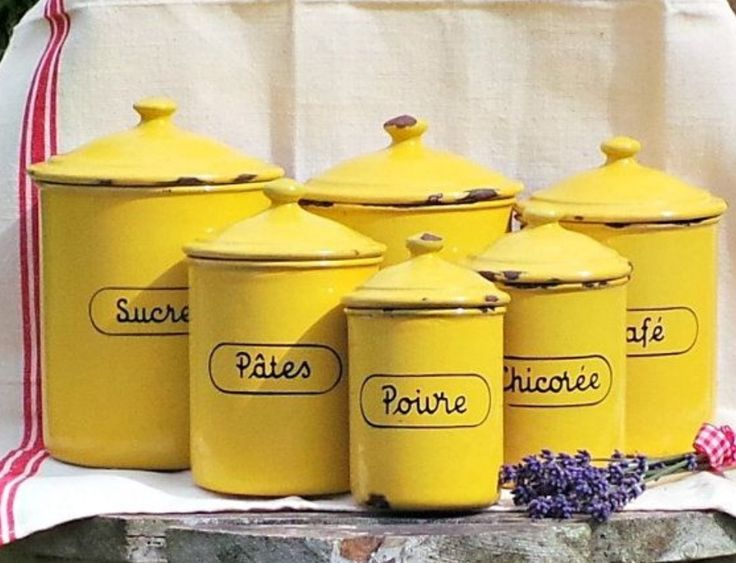 Antique French enamelware canister set