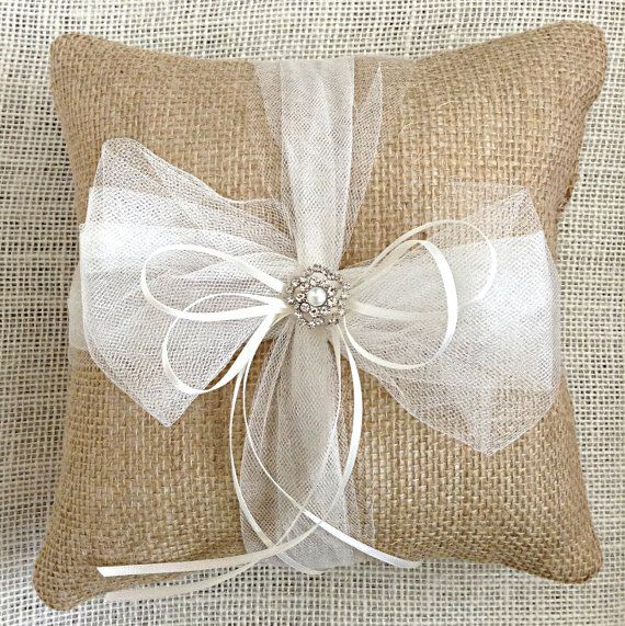 Burlap Ring Bearer Pillow|Burlap Ring Pillow with Tulle|Tulle Bow Burlap Ring Pillow| by sherisewsweet-www.sherisewsweet.etsy.com