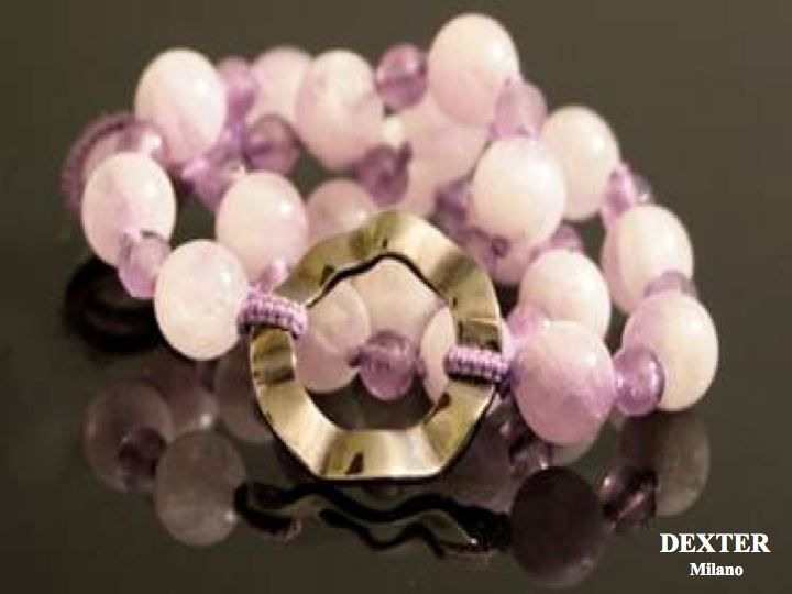 Necklace with Silver 925 Time Machine and pink quartz and amethyst. - Collana girocollo con elemento Time Machine in argento 925 e quarzi rosa e ametiste. @DEXTER Milano #collana #necklace #ametista #amethyst #gear #ingranaggio