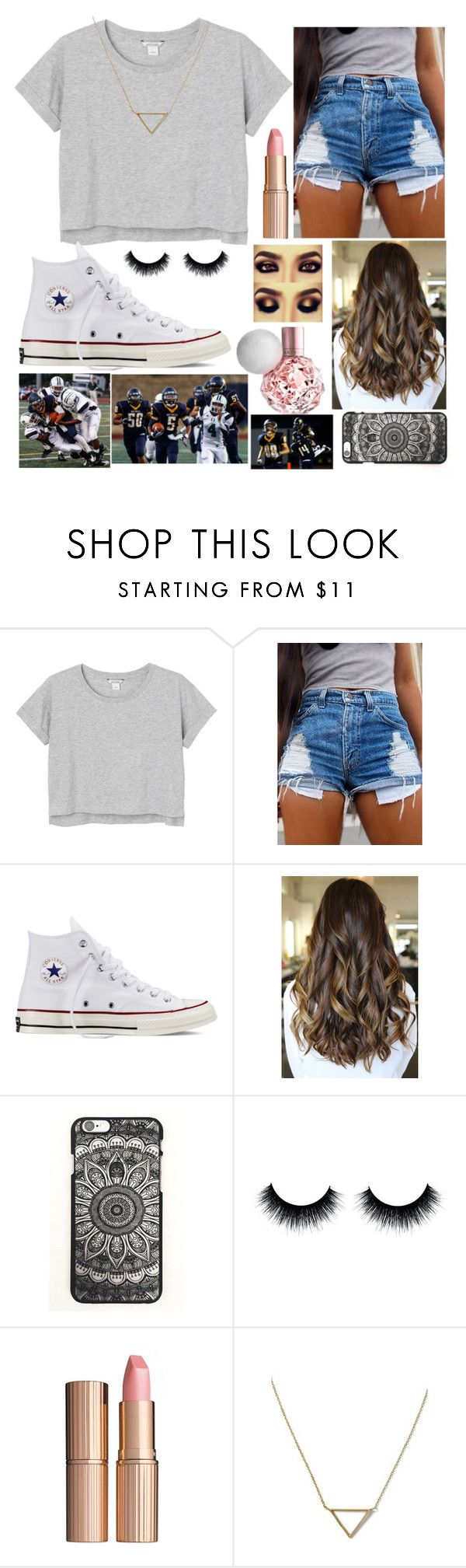 """Highschool football game"" by fashongirl03 ❤ liked on Polyvore featuring Monki, Converse, Charlotte Tilbury and Banana Republic"