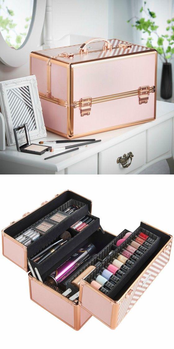Rose Gold Professional Makeup Train Case--Joligrace Travel makeup case with  mirror Artis makeup 50b97db9ab74e
