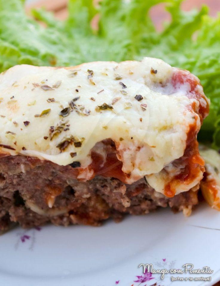 Bolo de Carne Italiano, para ver a receita, clique na imagem para ir ao Manga com Pimenta.