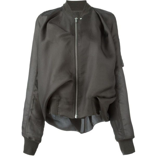 Rick Owens draped bomber jacket (7.515 DKK) ❤ liked on Polyvore featuring outerwear, jackets, bomber jacket, grey, rick owens, long sleeve jacket, bomber style jacket, grey bomber jacket and flight jacket