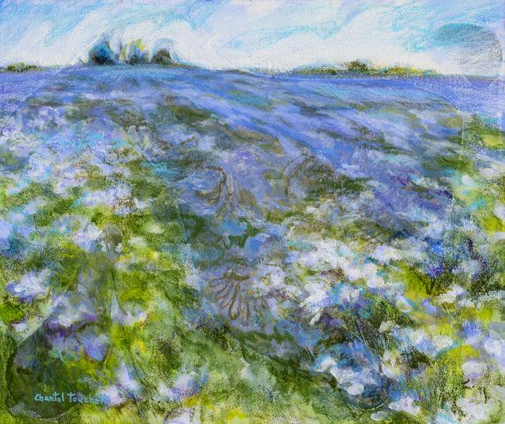 Lavender Flower Field Painting Small Landscape by artist Chantal Touchette from AtelierBeauvoir, 10x12, $375, more amazing art in online gallery, click to see! www.atelierbeauvoir.etsy.com