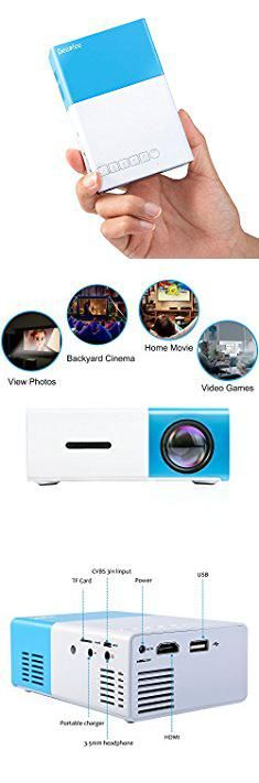 Laptop Mini Projector. 2017 DeepLee New Mini Projector, Portable LED Projector Home Cinema Theater with PC Laptop USB/SD/AV/HDMI Input Pocket Projector for Video Movie Game Home Entertainment Projector - Blue.  #laptop #mini #projector #laptopmini #miniprojector