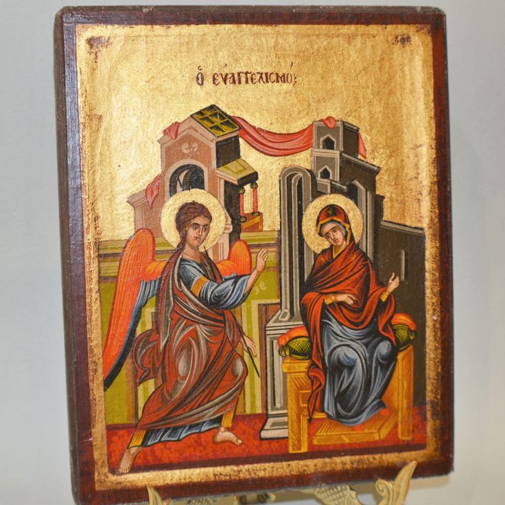 Orthodox Icon Handpainted Greek Byzantine Annunciation Virgin Mary