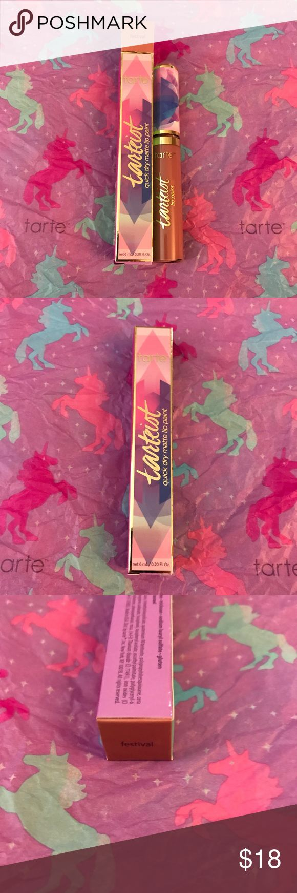 LE Tarte Tarteist Quick Dry Matte Lip - Festival Limited-edition shade of the quick dry, full coverage, transfer-proof liquid lipstick dressed up in fantasy glam packaging. Create full coverage lip looks with this lightweight, liquid-to-matte lip paint. It dries down instantly with no transferring & the comfortflex formula means it moves with your lips without drying them out, cracking or feathering. With the easy applicator wand, you can line & shade lips with high-impact, opaque matte…