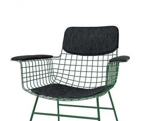 HK-living Comfort kit zwart voor metalen draad stoel met armleuningen