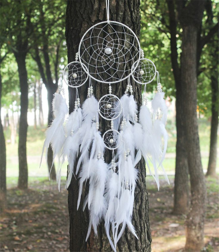 Indian Home Decor | 2015 New fashion originality big Hot white Dreamcatcher Wind Chimes Indian Style pearl Feather Pendant Dream…