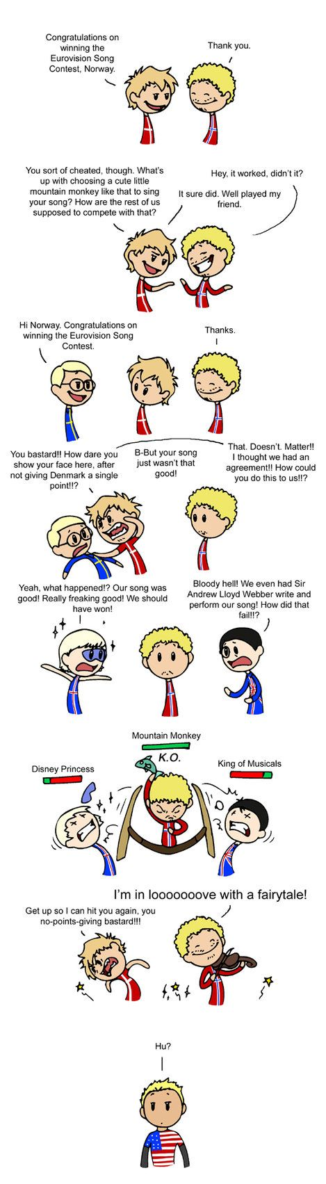 Eurovision and Scandinavia, and hahahaha, the american! xD