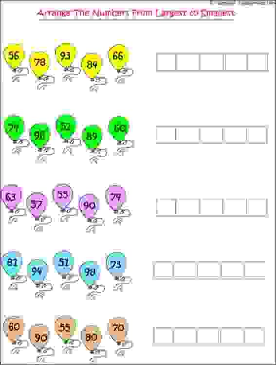 Maths Worksheets For Grade 1 Kids To Practice Arranging Of Numbers In Given Sequence 1st Grade Worksheets Arranging Numbers Worksheet Math Worksheet