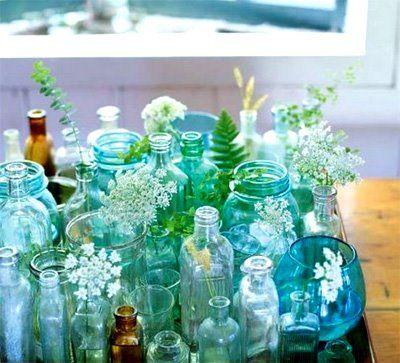 jarsIdeas, Vintage Jars, Blue, Vintage Bottle, Glasses Bottle, Old Bottle, Mason Jars, Flower, Colors Glasses