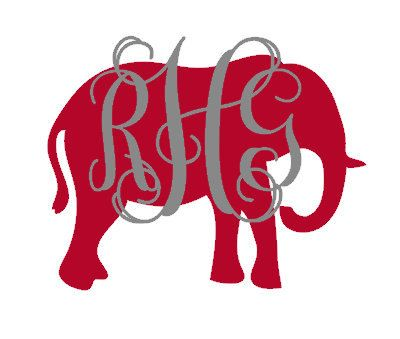 Monogrammed alabama elephant decal monogrammed car decal elephant monogram decal laptop decal
