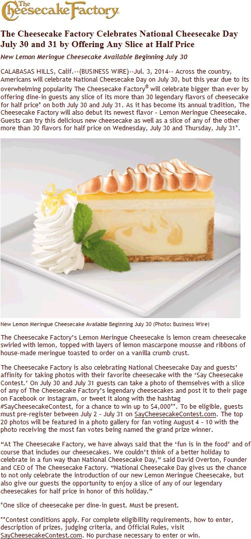 Pinned July 13th: 50% off slices the 30th & 31st at Cheesecake #Factory #coupon via The #Coupons App