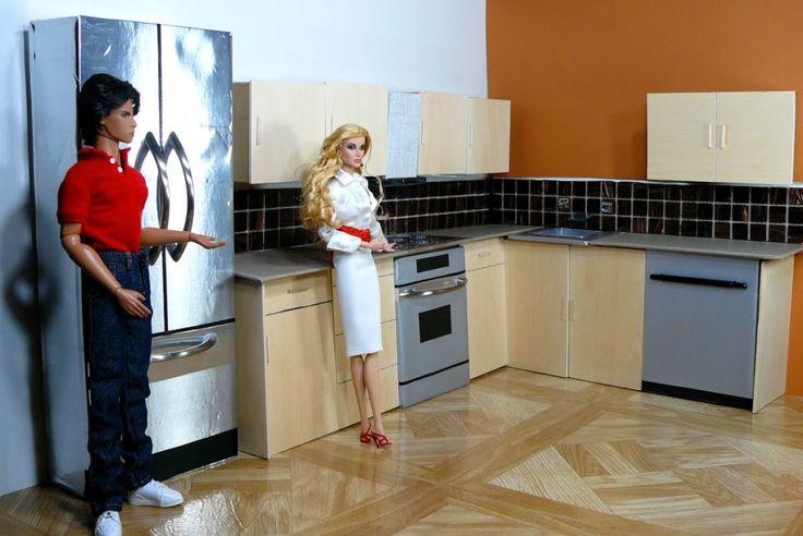 Barbie sized modern kitchen tutorial from Doll Divas - Diorama Portfolio