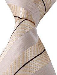 Beige Black Yellow Jacquard Necktie Men Business Suit Tie – USD $ 5.99
