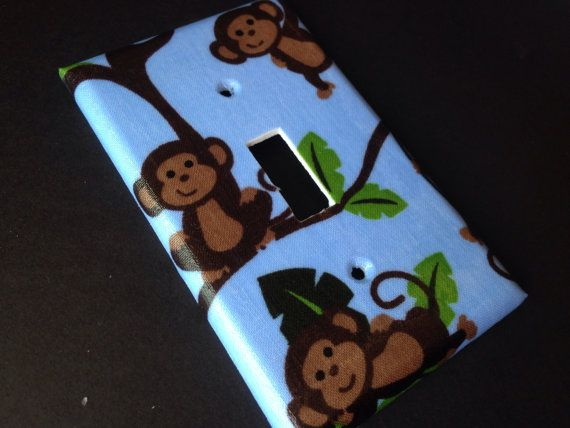 Blue Silly Monkeys Single Light Switch Plate Cover on Etsy, $5.00