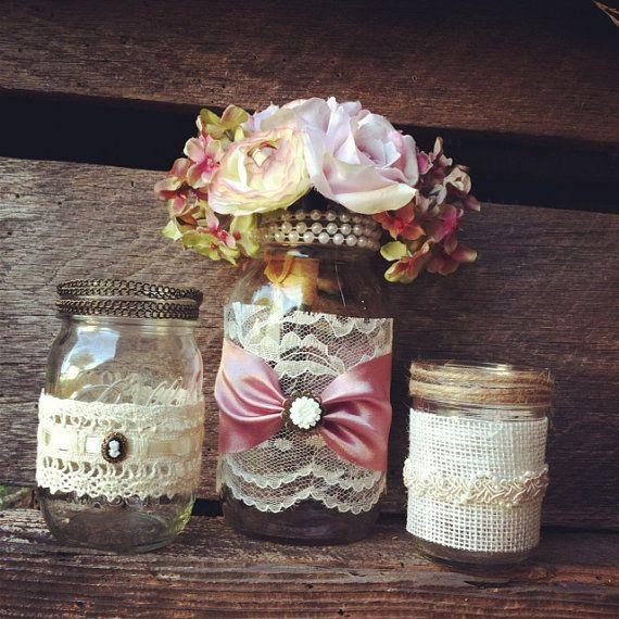 Burlap And Lace Mason Jar Vases Vintage Style Lace Mason Jars Wedding Decorations  Mason Jar Home Decor Rustic Chic Vintage Style Mason Jars
