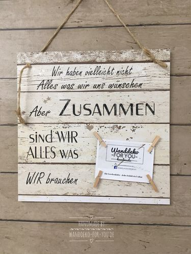 zusammen sind wir alles vintage spruchtextschild spr che holzschilder vintage shabby chic. Black Bedroom Furniture Sets. Home Design Ideas