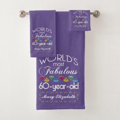 60th Birthday Most Fabulous Colorful Gems Purple Bath Towel Set - elegant gifts gift ideas custom presents