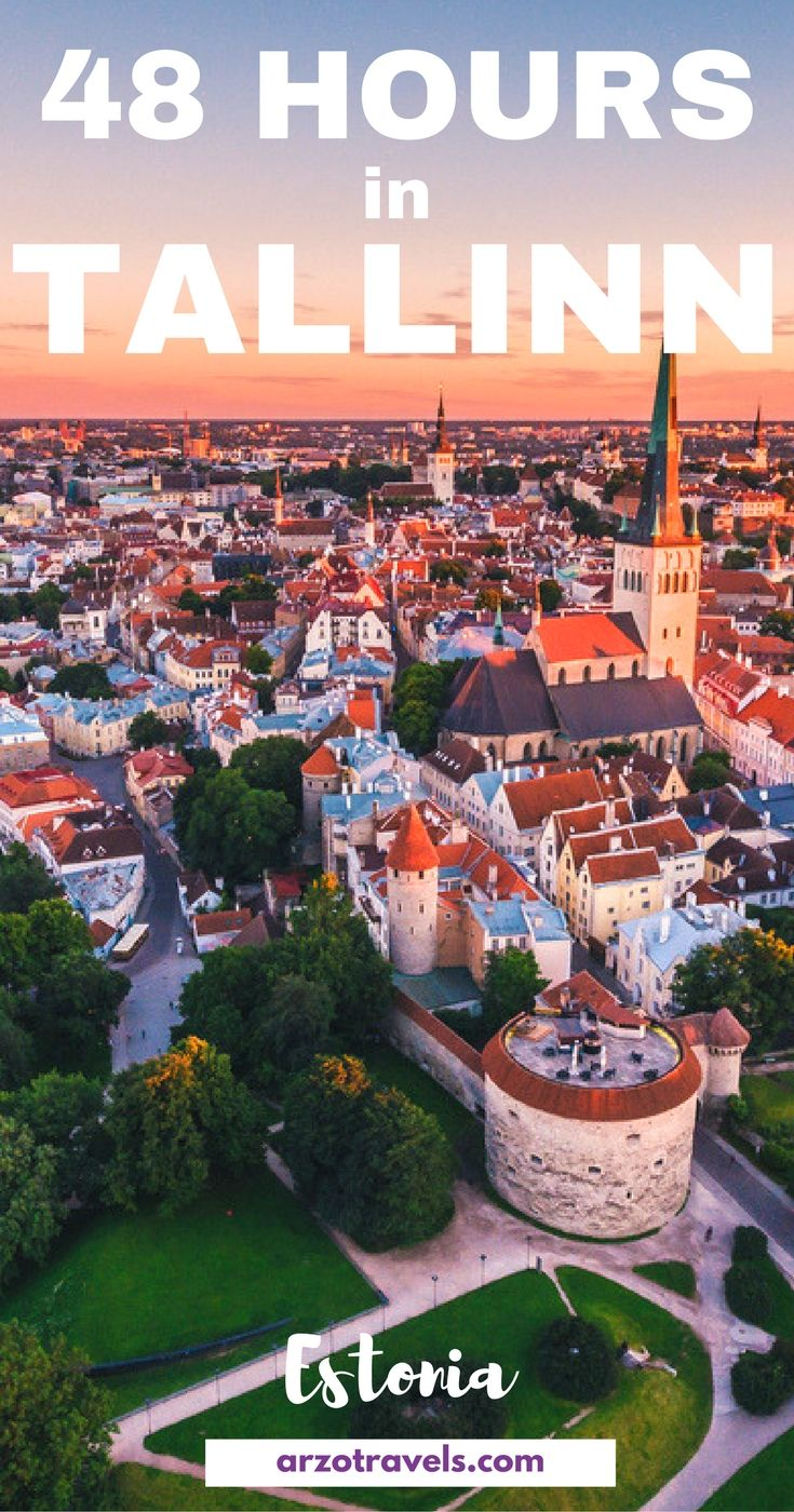 Itinerary for 2 days in Tallinn, Estonia. Things to do and see. Overlooking the old town at sunset.