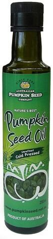 Pumpkin Seed Oil, artisan cold pressed and unrefined............Pumpkin Seed Oil, cold pressed and unrefined.  Following our family heritage of Slovenia, we bring you Australia's first and only pumpkin seed oil pressed from special dark green Styrian pumpkin seed using a centuries old artisan method.