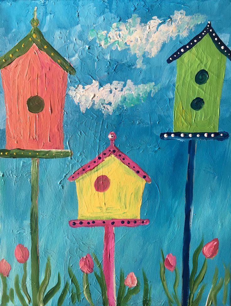 Great painting for kids, acrylic on canvas, birdhouses, spring