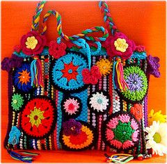 crocheted bag -- love the black borders on the circular motifs