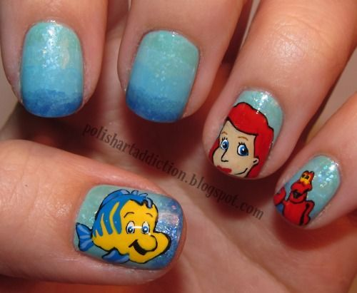 little mermaid nails...really?!