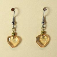 ~:~ Recycled Amber Glass Heart Earrings ~:~