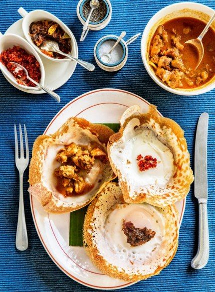 Egg hoppers, chicken curry, Amangalla, Galle, Sri Lanka