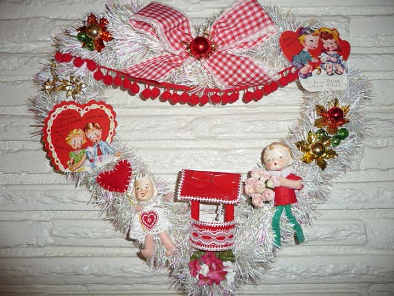 sweet vintage item valentines day wreath blue by chickitout 5500 - Vintage Valentine Decorations