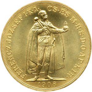 Moneda de oro 100 Coronas Hungria 1908  anverso.