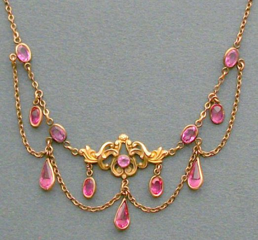 Antique Art Nouveau Jewelry Necklace. Pink. Festoon. Via Diamonds in the Library.....Sooo very pretty. B.
