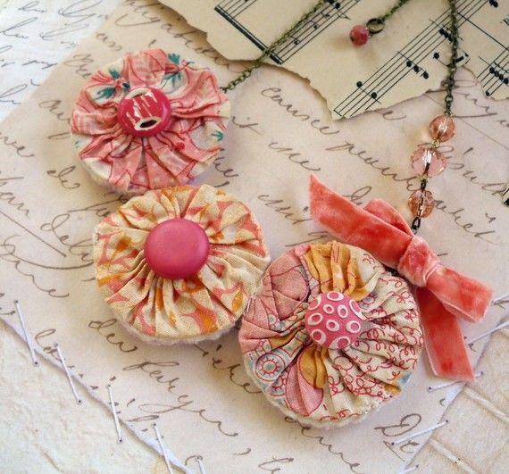 Vintage Yoyo Quilt Necklace in Pink. $29.50, via Etsy.