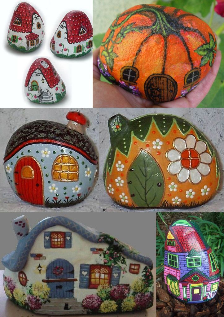 Painted Rock Miniature Fairy Houses for your Fairy Gardens