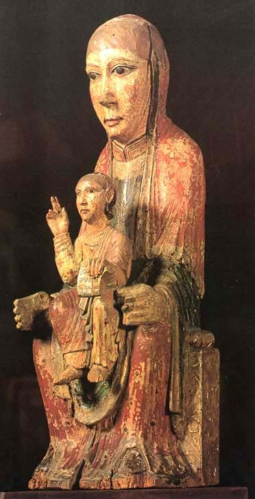 Polychrome carving of the Virgin and Child, Ger (Baja Cerdagne), Lérida. It is of the 12th century and is in the Museum of Art of Catalonia.