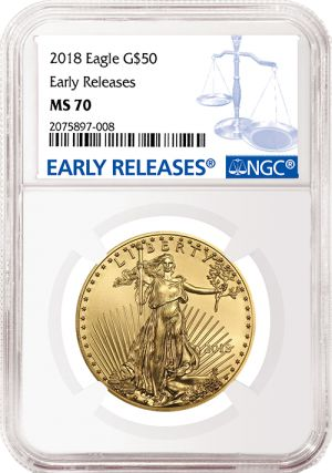 If you can afford to own just one 2018 American Eagle, we recommend  considering the flawless 2018 American Eagle gold coins in the 1 ounce size. They have no scratches or other signs of wear and handling. These Brilliant Uncirculated 1 troy ounce gold coins are among the first to be released in early 2018 by the United States Mint. Each one grades MS-70, the highest rating assigned by NGC, one of America's most trusted grading services. Order yours today, supplies  limited. 1-800-928-6468