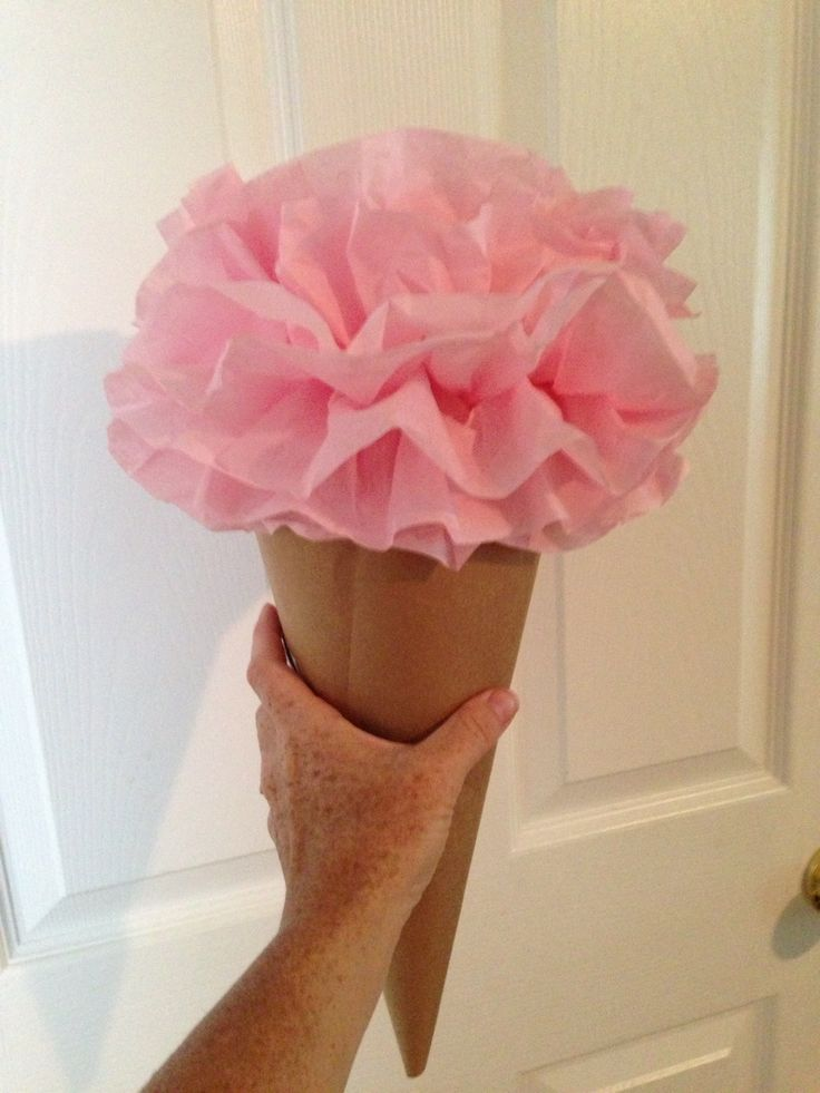 Ice Cream Party decorations using Pom Pom Tissue Paper and Brown grocery store bags