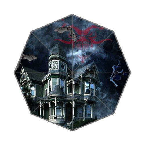 Прохладный новинка пункт! в душераздирающий темно-синий замок / летучая мышь / ведьма фон tri-сложенном дождь и солнце портативный зонтик! 43.4 дюймов широкий