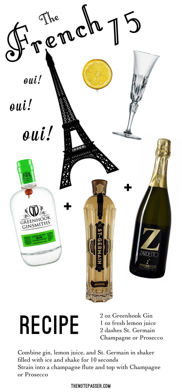 French 75: Greenhook Gin  |  Eiffel Tower  |  St. Germain  |  St. Louis Stella champagne flute