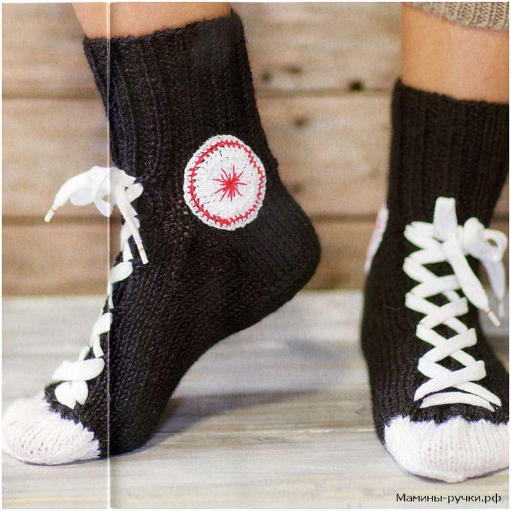Мужские носки-кеды вязаные спицами