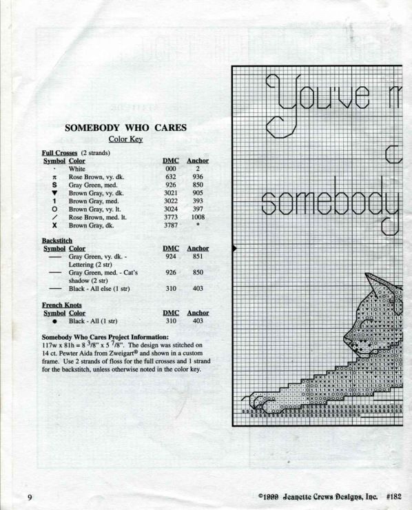 Someone who cares kitty cross stitch pattern part one